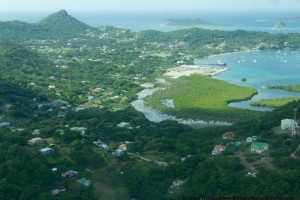 Aerial view of Tyrrel Bay, Carriacou.