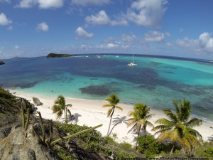 View across the Tobago Cays from Jamesby.