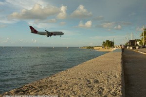 An airplane arrives at the Montego Bay Airport, Jamaica.